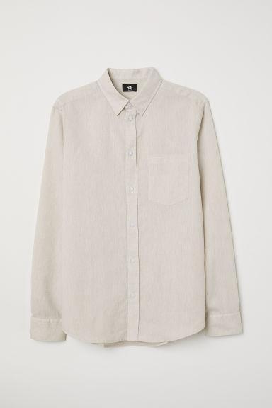 H & M - Camicia Misto Lino Slim Fit - Beige