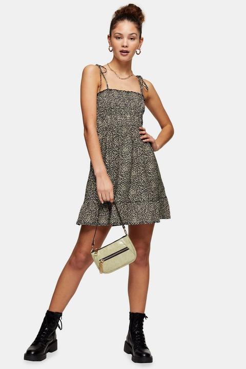 Stone Animal Print Shirred Flippy Dress