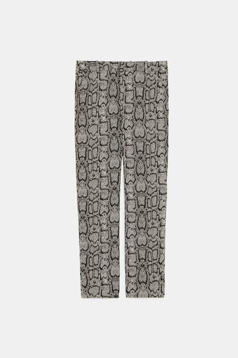 Pantalón Recto Estampado Serpiente