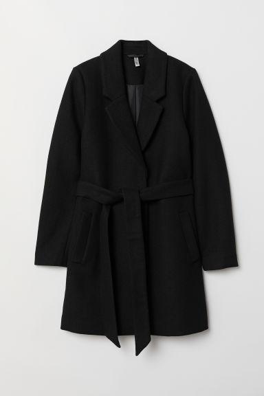 Mantel Mit Bindegürtel - Schwarz - Damen