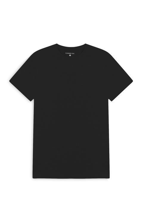 Camiseta Negra Con Cuello Redondo