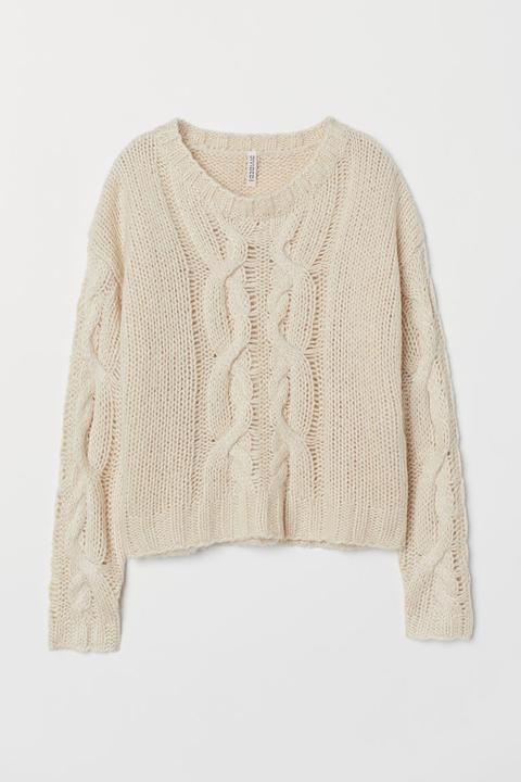 H & M - Cable-knit Jumper - Beige