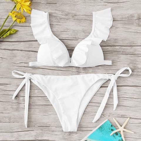 Set Bikini Top Con Volant E Nodo Laterale