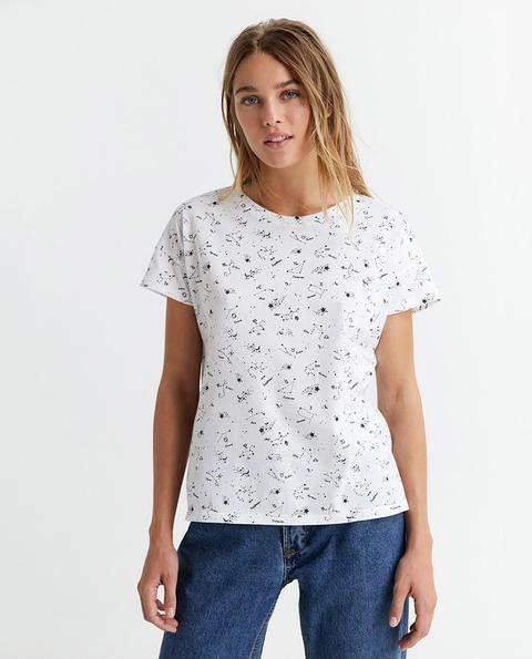 Sfera - Camiseta Básica De Mujer Estampada 100% Algodón