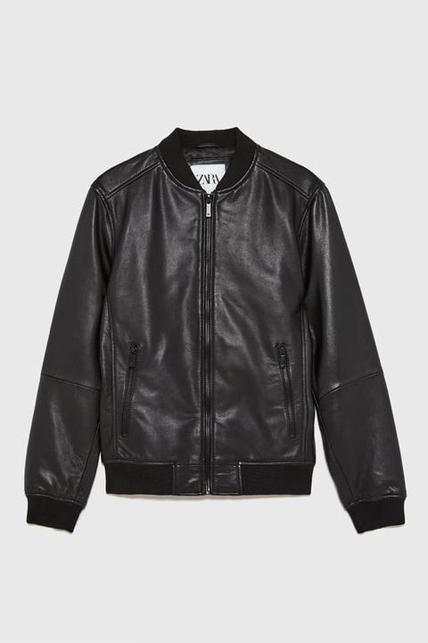 Cazadora Bomber Piel de Zara en 21 Buttons