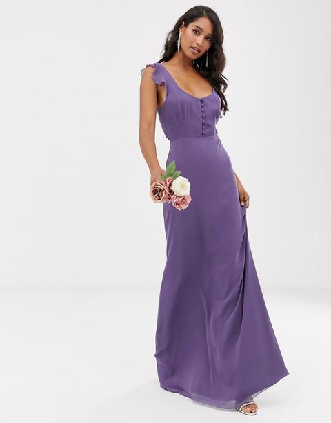 Vestido Largo De Dama De Honor Con Detalle De Parte Delantera Abotonada Y Lazada Posterior De Maids To Measure-azul Marino de ASOS en 21 Buttons