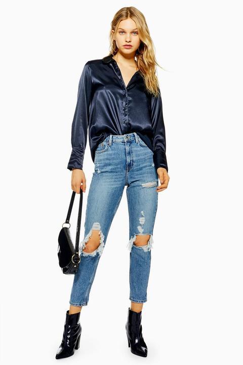 Bleached Ripped Mom Jeans de Topshop en 21 Buttons
