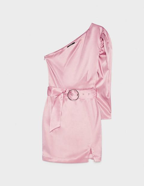 Vestido Satinado Asimétrico Con Cinturón