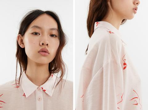 Camisa Faces Print Marfil