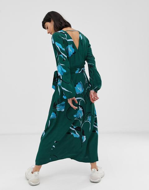 Gestuz Sille Floral Print Midi Dress-green