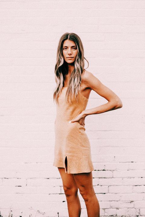 Only Girl Bias Cut Mini Dress // Mustard