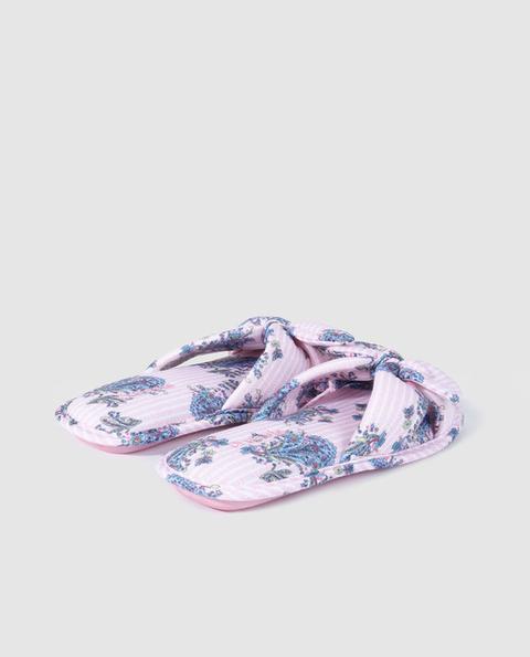 90805ee6 Zapatillas De Casa De Mujer Enfasis Destalonadas Con Lazo de Enfasis en 21  Buttons