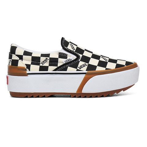 Vans Zapatillas Checkerboard Classic Slip-on Stacked ((checkerboard) Multi/true White) Mujer Multicolour de Vans en 21 Buttons