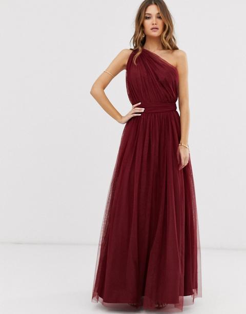 Vestido Largo Asimétrico De Tul De Asos Design-rojo de ASOS en 21 Buttons