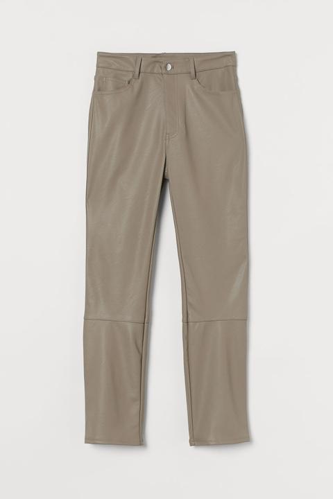 Pantalón En Piel Sintética - Marrón