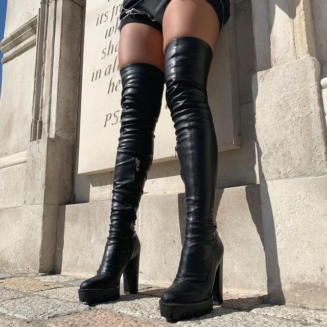 Vicki Black Croc Belt Thigh High Boots