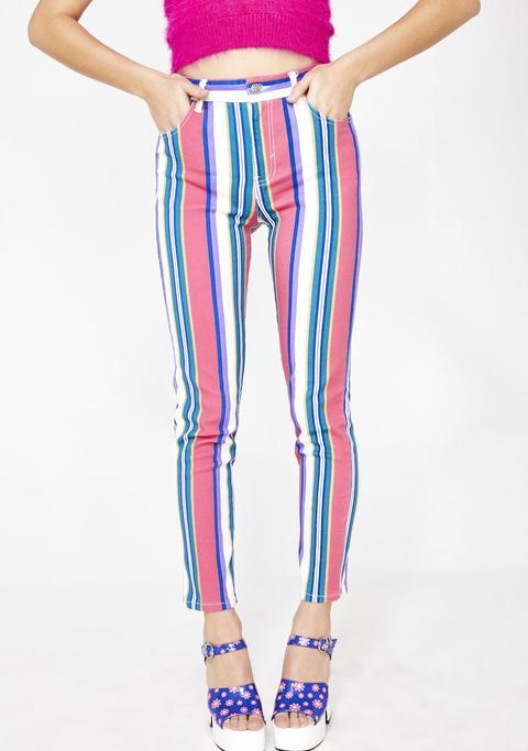 Pump Up The Jam Striped Jeans de Dolls Kill en 21 Buttons