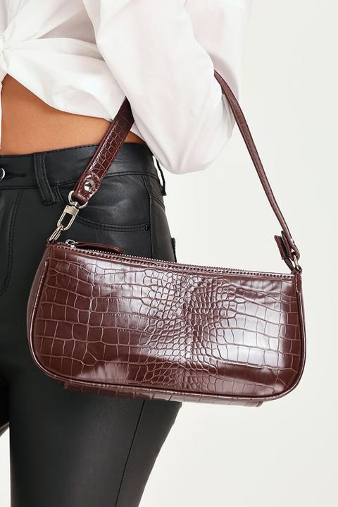 Brown Croc Print Faux Leather Mini Crossbody Bag