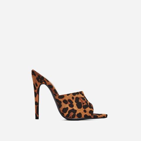 leopard open toe mules