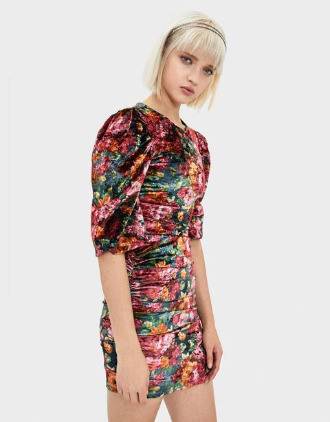 Vestido De Terciopelo Con Flores