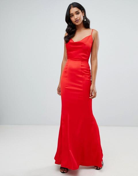 Vestido Largo Rojo Con Cuello Desbocado De Lipsy de ASOS en 21 Buttons