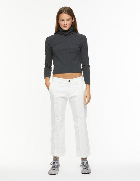 Pantalón Recto Flecos Blanco