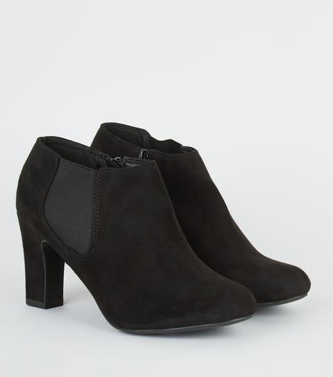 Wide Fit Black Block Heel Chelsea Shoe