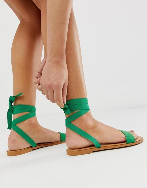 Asos Design Flawless Tie Leg Flat