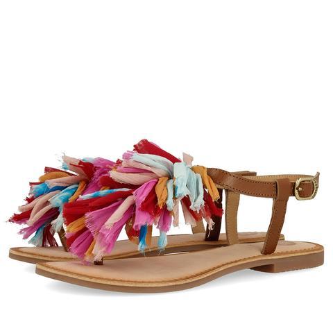 diseño de calidad 12f29 fe5f3 Sandalias Marrones Estilo Esclava Con Pompones Multicolores Para Mujer  45269 de Gioseppo en 21 Buttons