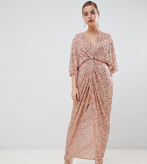 Vestido Largo Estilo Kimono Con Nudo Frontal Y Lentejuelas Repartidas De Asos Design Petite-rosa