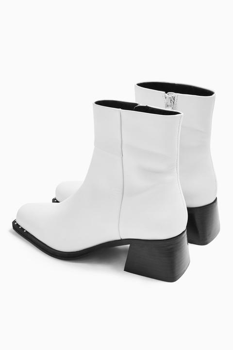 Womens Mystic Leather White Square Toe