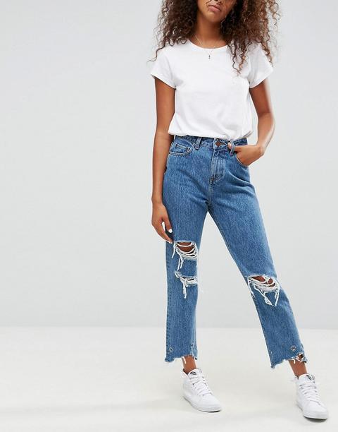 Asos - Mom Jeans Originali Lavaggio Chiazzato Olivia Con Strappi