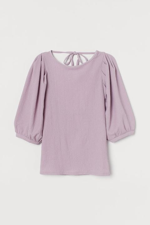 Blusa Arrugada Con Manga Puffy - Púrpura