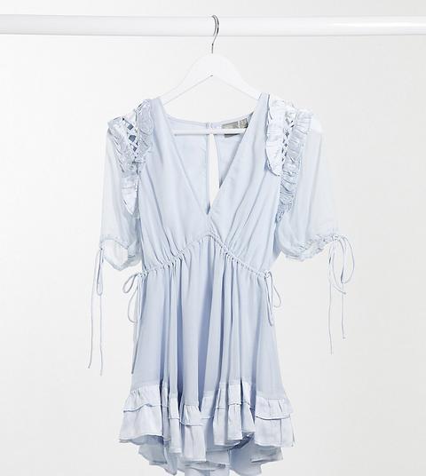 Vestido Corto Azul Pastel Con Ribetes Con Volantes Y Detalle De Lazada De Raso De Asos Design Petite