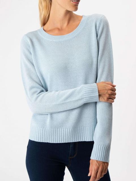 Maglione Pesante Con Girocollo Azzurro