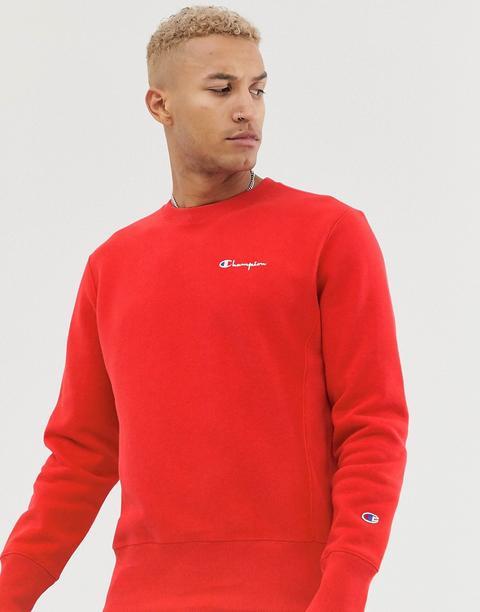 Sudadera Roja Con Cuello Redondo Y Logo Pequeño De Texto Reverse Weave De Champion de ASOS en 21 Buttons