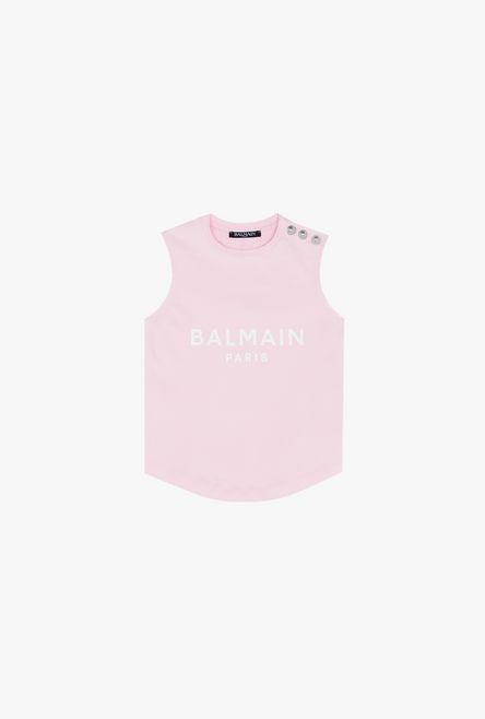 Camiseta De Algodón Rosa Con Logotipo De Balmain Estampado En Blanco