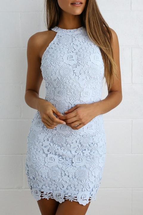Love Poem Light Blue Lace Dress - Lulus de Lulus en 21 Buttons