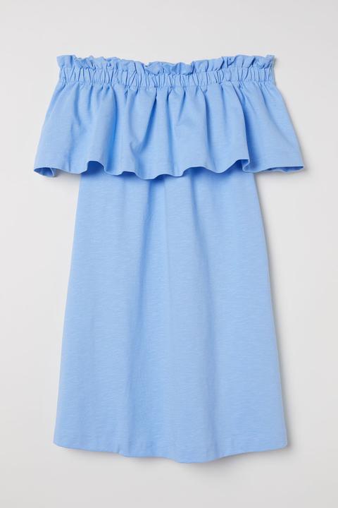 Vestido Hombro Descubierto - Azul