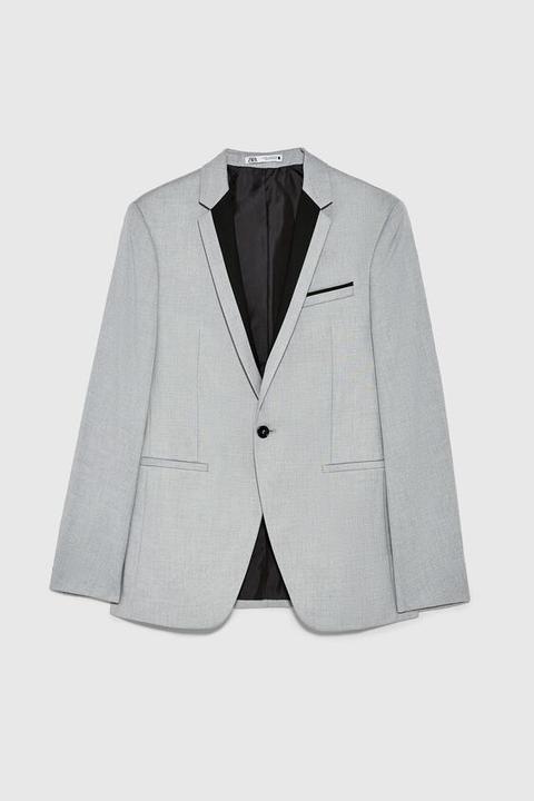 Blazer Conjunto Estructura Contraste de Zara en 21 Buttons