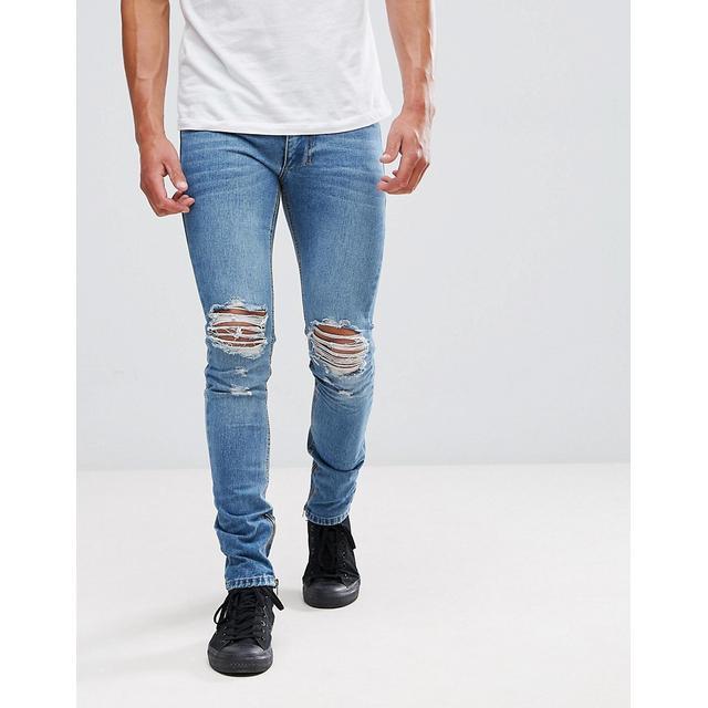 5fe3cd3cbb639 Liquor N Poker - Skinny-jeans Mit Rissen Und Reißverschluss Am Knöchel -  Blau from ASOS on 21 Buttons