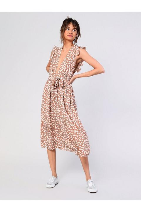 **plunge Polka Dot Midi Dress By Glamorous de Topshop en 21 Buttons