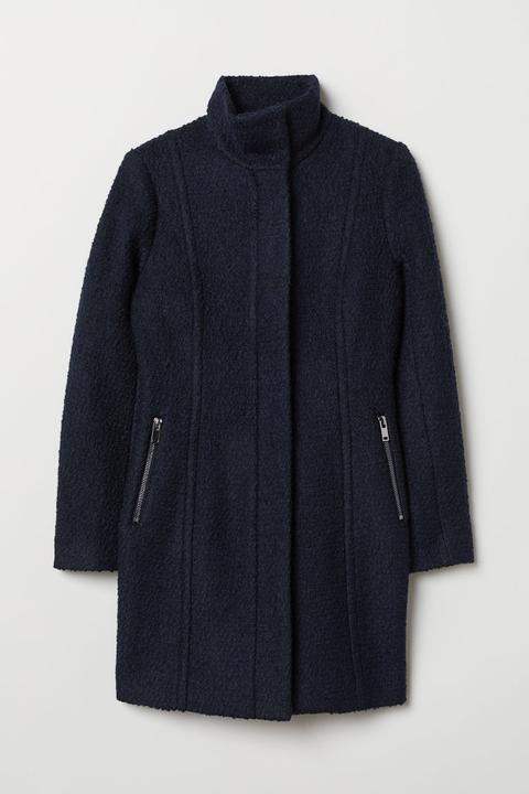 Abrigo Corto En Mezcla De Lana - Azul de H&M en 21 Buttons