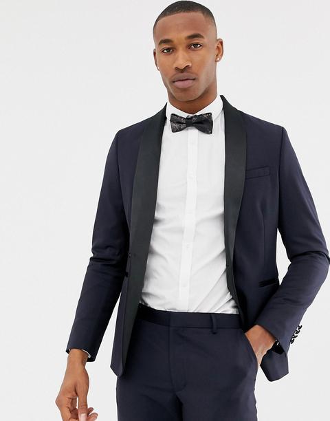 online retailer 8503d aa746 Asos Design - Giacca Da Abito Stile Smoking Skinny Blu Navy In Lana - Navy  from ASOS on 21 Buttons