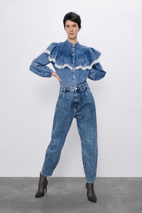 Slouchy Denim Buttons Pantalón On 21 Pinzas Zara From 8PnwX0kO