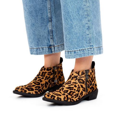 Botines De Inspiración Cowboy Y Print De Leopardo Para Mujer Pori