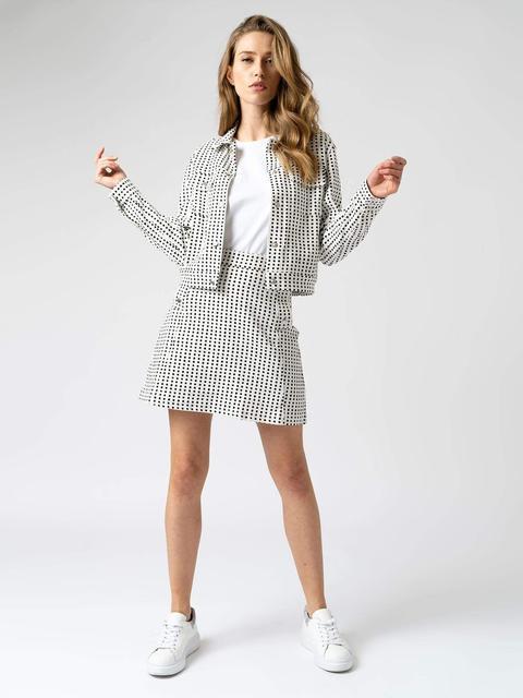 Women's White Spot Mini Skirt Cotton Saint And Sofia® Uk