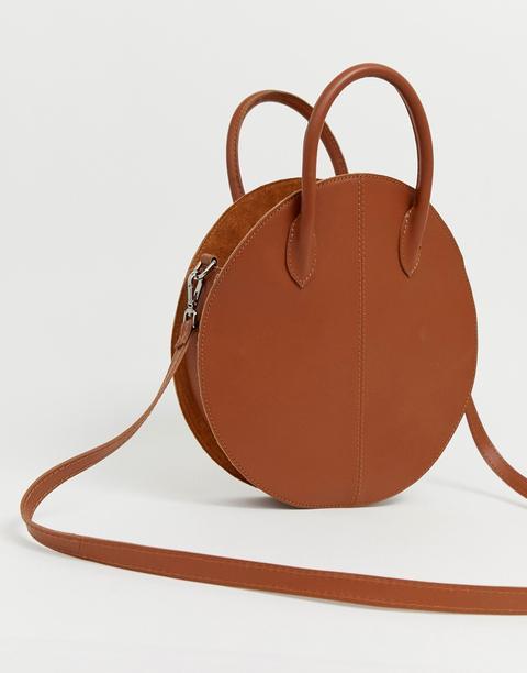 Bolso Shopper Redondo De Cuero Con Diseño Estructurado De Asos Design-tostado