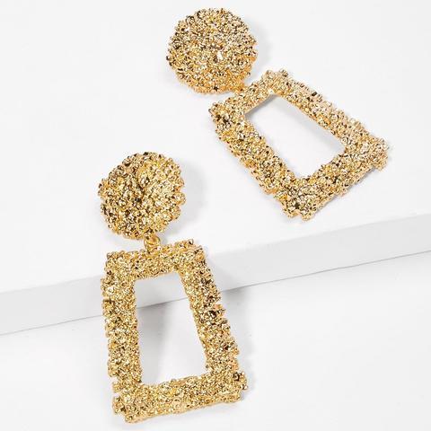 Open Rectangle Textured Drop Earrings 1pair