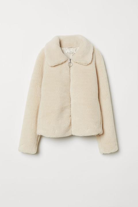 Chaqueta Corta En Peluche - Blanco de H&M en 21 Buttons